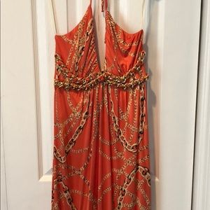 Sky orange chain maxi dress